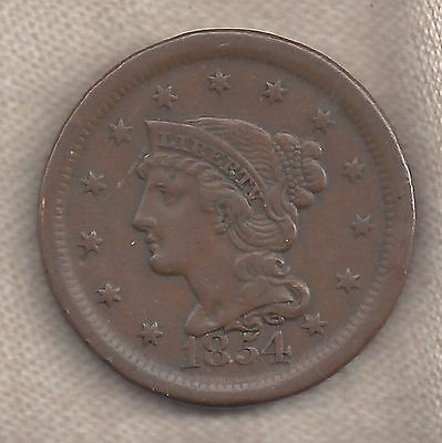 1854 Large Cent, Braided Hair, Nice One!