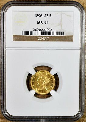 1896 NGC MS61 $2.50 Gold Liberty Quarter Eagle - Better Date