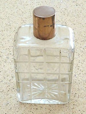 Stylish Cut Glass Solid Silver Top Cologne / Perfume Bottle London 1941