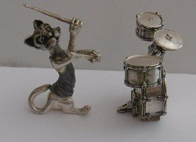 Novelty Decorated Miniature White Metal Figure Cat Musician Drums