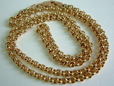 9Ct Yellow Gold Round Belcher Linked Chain For Pendant -22 Inches