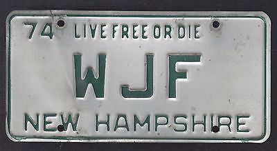 New Hampshire Vintage Auto Licence Plate 1974 (Wjf)