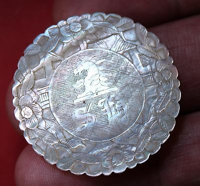 Antique Chinese  Mother Of Pearl Gaming Counters Armorial Chips Trump Marker
