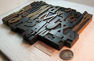 40 pcs.vintage letterpress wood type A-Z, 0-9 and !,$,?,&. Beautiful old type!!