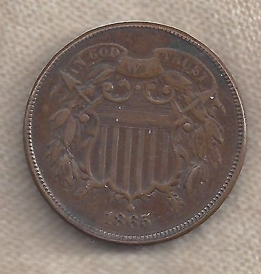 1865 Two Cent Coin, In God We Trust 90% Clear