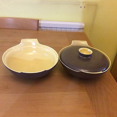 Poole pottery twintone Brazil brown and sweetcorn yellow serving dishes C107