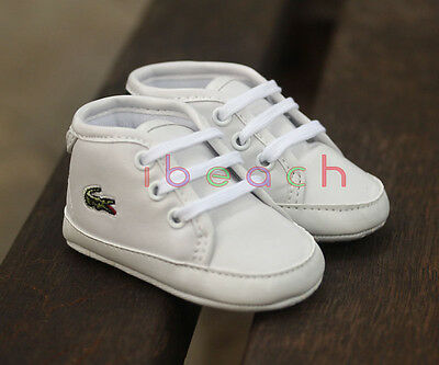 Infant Baby Boy Girl White Trainers First Pram Shoes Newborn to 18 Months