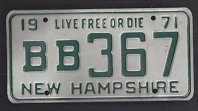 New Hampshire Vintage Auto Licence Plate 1971 ( B B 367 )