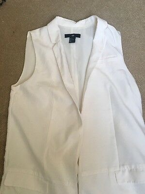 H&M Long Off White Waist Coat Size 8