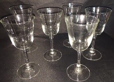 Set Of Six Vintage French Wine Glasses
