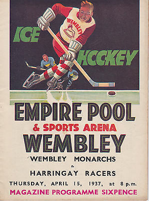 1937 WEMBLEY MONARCHS v HARRINGAY RACERS PROGRAMME (15/4/37)