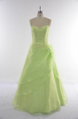 UK Stock Long Organza Evening Formal Party Ball Gown Prom Bridesmaid Dress Sz 8