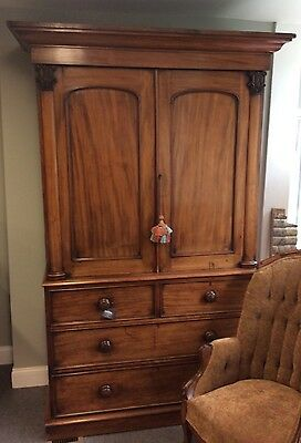Antique English Mahogany 2 Part Linen Press Double Door Cabinet
