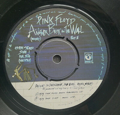 """PINK FLOYD Another Brick In The Wall UK Harvest 7"""" vinyl record window label"""