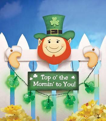 Colorful Festive Lighted Leprechaun St. Patrick's Day Fence Topper