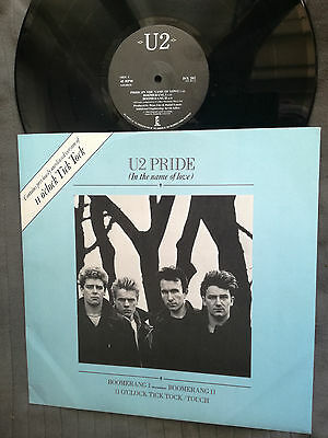 "U2 Pride UK scarce blue picture sleeve Island 5-track 12"" vinyl record EX/EX"