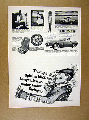 1966 Triumph Spitfire Mk2 car photo vintage print Ad