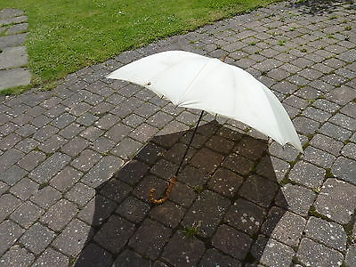 "Vintage 34"" White Nylon Bamboo Handled Ladies Umbrella Made in England"