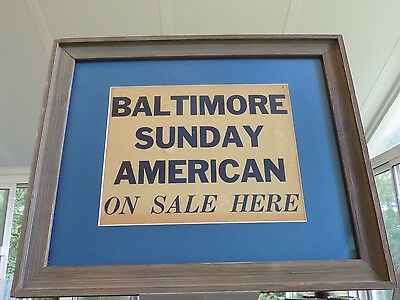 Antique Framed Card Advertizing Placard / Poster Sign Baltimore Sunday American