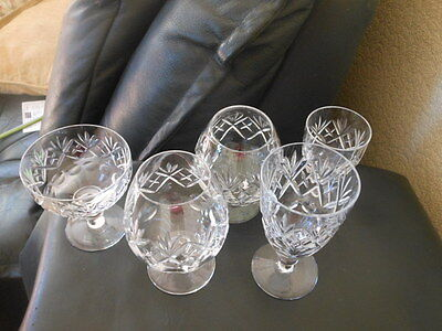 5 Royal Doulton GEORGIAN Cut Crystal Glasses BRANDY CHAMPAGNE WINE mixed stamped
