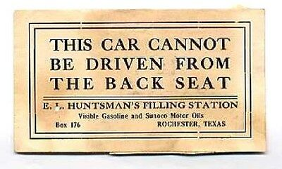 1920's Filling Station Ad Card SUNOCO