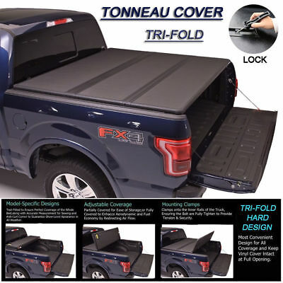 Fits 2007-2017 TUNDRA Crew Max Lock Hard Solid Tri-Fold Tonneau Cover 5.5ft Bed
