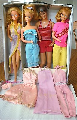 Lot of Barbies & a Ken Doll in Pink Case w/Clothing (some tagged)~All Very Clean