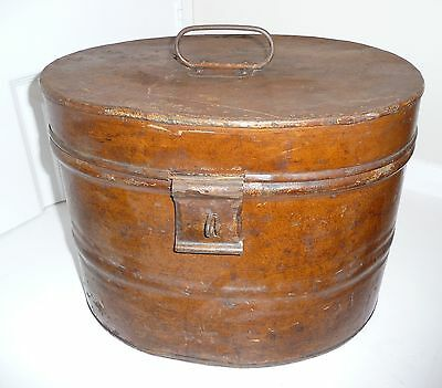 Large Vintage Antique Victorian Metal Tin Hat Box