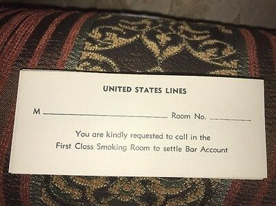 SS UNITED STATES LINES 1952 First-Class Smoking Room Bar Bill Reminder Card Rare