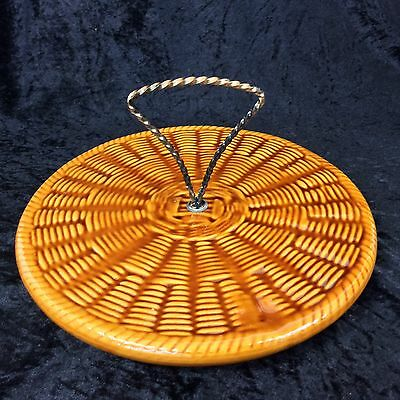 Retro Vintage French 1960s Ceramic Cheese Board Vallauris Pottery? Basket Weave