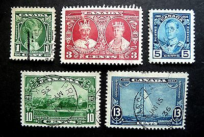Canada Kgv 1935 Silver Jubilee Sg335-340  Used