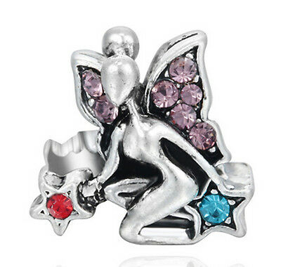 1Pcs Purple Crystal Butterfly Fairy Charms Silver Bead Suit Bracelet/Necklace