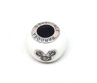 Pandora Disney Parks I LOVE MICKEY Heart White Enamel CZ Bead Charm 925 sterling