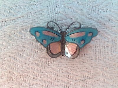 Beautiful vintage solid silver enamel Butterfly Brooch, Norway