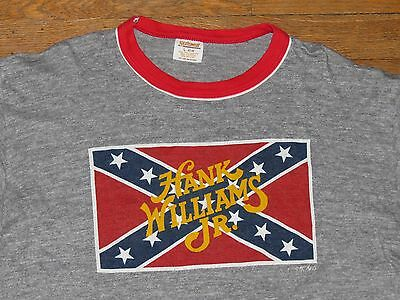 Vtg 70's 80's Tri Blend Hank Williams Jr Ringer T Shirt Flag LRG Bocephus