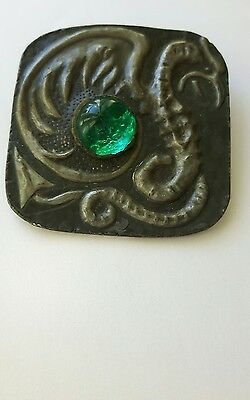 A HUGE LATE 19th C FRENCH CLOAK BUTTON WITH CARVED DRAGON & GREEN PASTE STONE