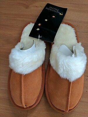 Ladies Real Suede Leather Slippers Non Slip Sole Faux Fur Lining Chestnut 3-4
