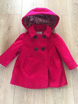 Baby Girls 12-18 Months Red Hooded Coat From Next