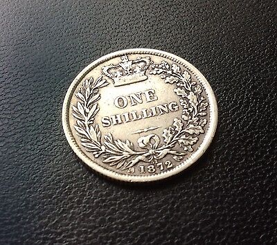 An 1872 Victorian sterling silver shilling - Die Number 51