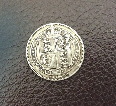 1890 Victorian sterling silver shilling - cracking