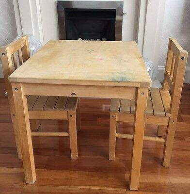 Ikea wooden child's table and two chairs