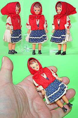 """Vintage 4.5"""" German """"ARI"""" Red Hat Rubber Small Doll 1970's"""