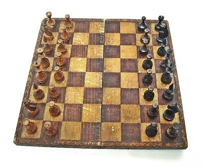 Vintage antique wooden chess Pyrography box Hand made 20s