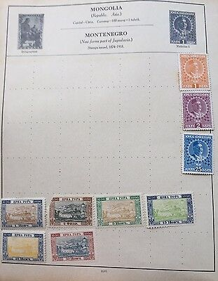 montenegro stamps Old Album Page