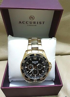 Accurst Men's Gold Chronograph Watch With Black Face