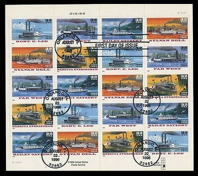 SC #3091-5- 32c RIVERBOATS - USED SHEET (PANE) OF 20