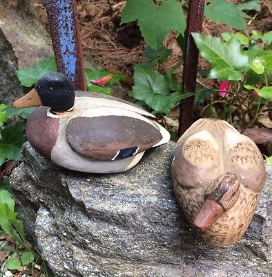 VTG ( 2)  Hand carved Decoys Mallards Pair Signed Don Law Long Island NY