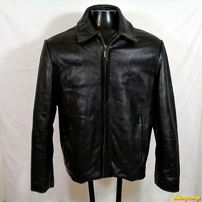 COLLEZIONE SA Soft Lambskin LEATHER JACKET Mens Size M  black zippered insulated