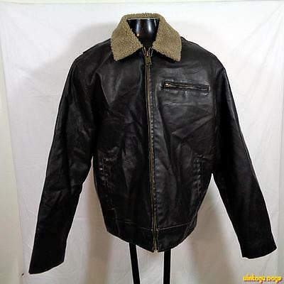 AEROPOSTALE Faux Leather Biker JACKET Mens Size XL Brown zippered insulated