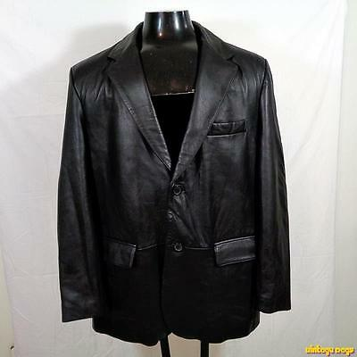 REED Leather Lambskin Classic LEATHER JACKET Blazer Mens Size L large Black